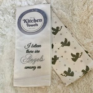 ANGELS Embroidered Kitchen Tea Towels Set 2 Cotton